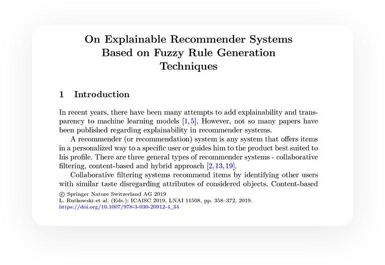 On Explainable Recommender Systems Based on Fuzzy Rule Generation Techniques